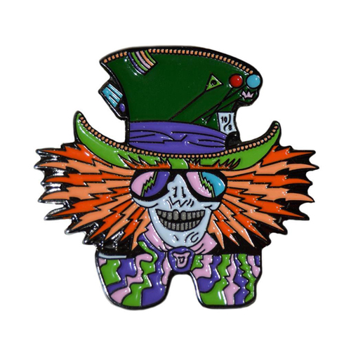 Vibrant Color Mad Hatter Hippie Weed Festival Lapel Enamel Pin