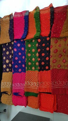 Cotton Bandhej Unstitched Salwar Suits