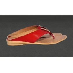 Ladies Synthetic Leather Red Sandal