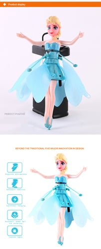 Fairy Magical Princess Flying Suspended Aircraft Kids Control Flying Dolls Toys Gift