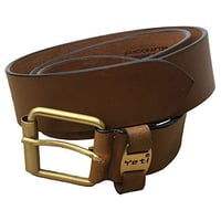 Brown Color Yeti Mens Leather Belt With Solid Brass Buckles