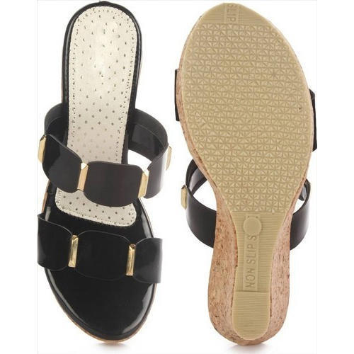 ec7e92bf44e Black And Brown Ladies Wedges Slippers in New Delhi