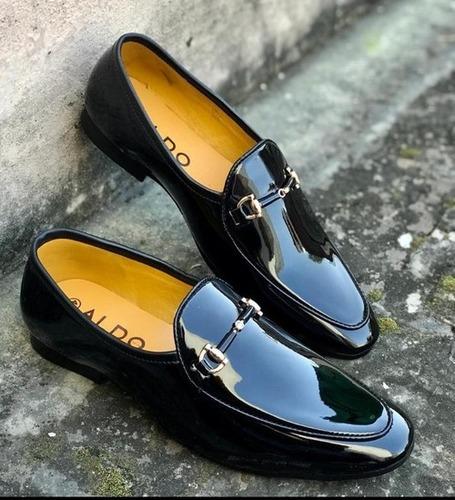 Men Party Wear Shiny Black Shoes Heel