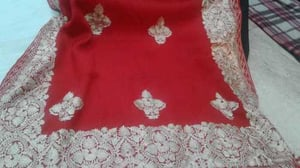 Red Color Woolen Shawl with Embroidery Work