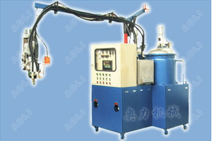 Low pressure two component PU foam injection machine