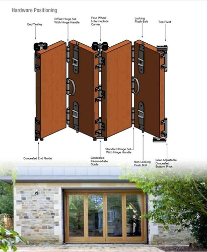 Brass Heavy Duty Wooden Door Sliding Folding