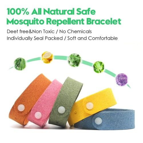 Microfiber Anti-Mosquito Button Slock Safe Deet-Free Band Bracelet