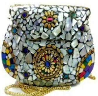 Mosaic Metal Clutch Bag