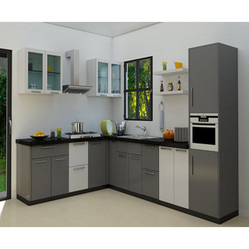 Two Color L Shaped Modular Kitchen