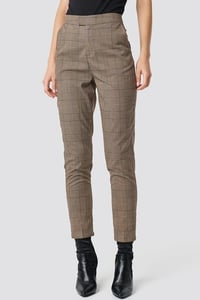 Creased Checkered Suit Pants - Brown