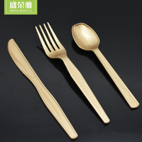 Golden Plastic Cutlery Set Length: 1:Knife 16.8x2cm   2:Fork:16.8x2.6cm 3:Spoon:16.8x3.2cm  Centimeter (cm)
