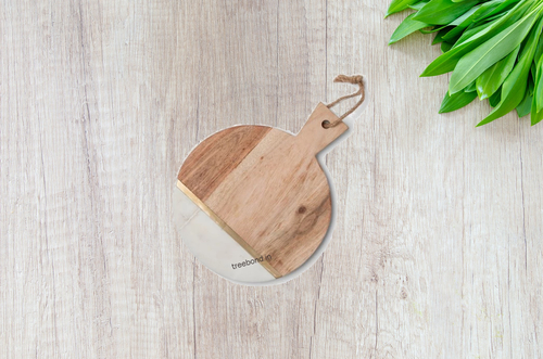 Round Wooden, Marble Stone Chopping Board