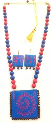 Designer Terracotta Necklace Pieces Are Painted With Bright And Eye Catching Colors