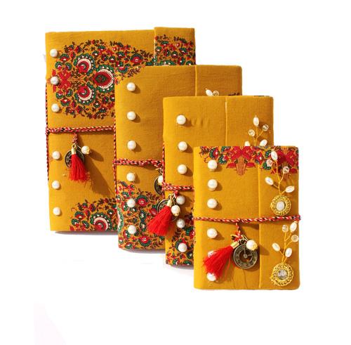 Fabric Handmade Yellow Designer Paper Diaries
