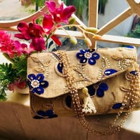 Flower Embroidery Jute Bag