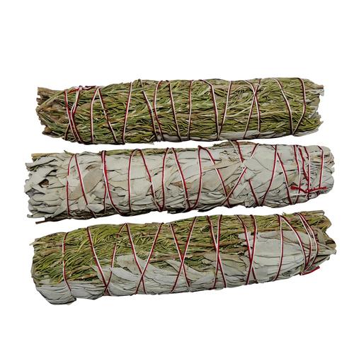 "Satyamani Natural Rosemary With White Sage Smudge 8"""