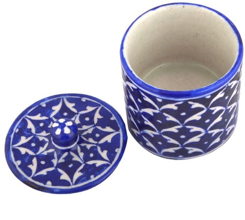 Blue Pottery Cotton Box