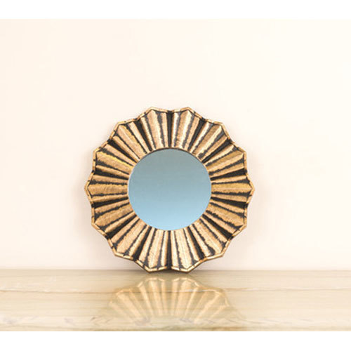 Various Colors Are Available Brass Body Round Designer Mirror