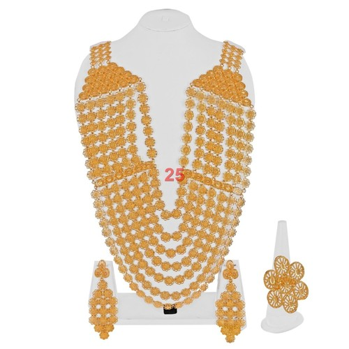 Broad 7 Step Long Chain Necklace Set