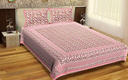 King Size Indian Printed Jaipuri 100% Cotton Flower Design Printed Bed Sheets