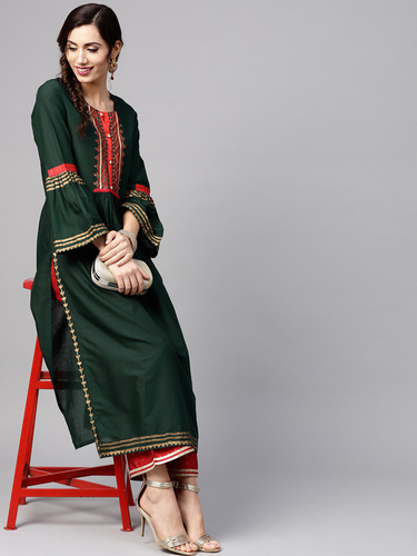 Women Green Yoke Design Straight Kurta Decoration Material: Laces