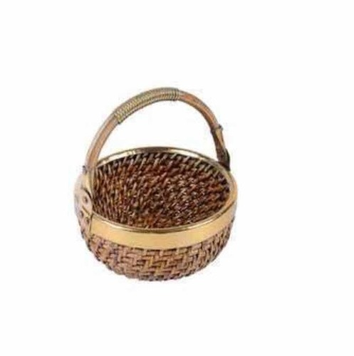 Handmade Cane Basket With Brass Durable