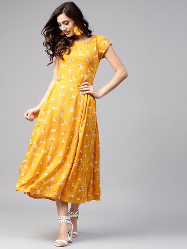 Mustard Women Yellow Printed Midi A-Line Dress