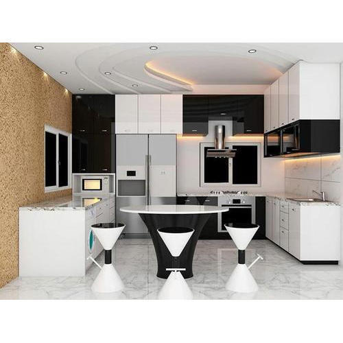 White And Black Modular Kitchen At Best Price In Faridabad Haryana Sunny Marble Granites