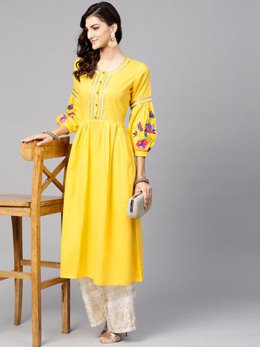 Women Yellow Embroidered Detail A-Line Kurta