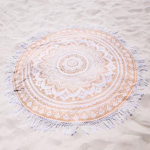 100 % Indian Cottton Golden Ombre Mandala Beach Throw Roundie