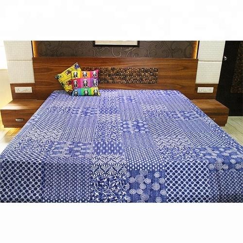 Kantha Tapestry 100% Cotton Vintage Patchwork Indigo Old Style Hand Stitched Bedsheets