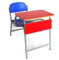 Single Seater Monobloc Table With Book Basket And Rounded Edge Top