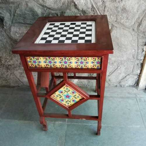 Wooden Chess Table With Ceramic Tile