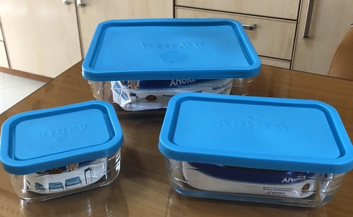 Glass Food Storage Container (3 Pieces Rectangle Zangan)