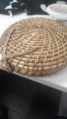 Round Cane Bag With Lock