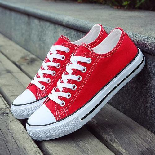 Red Canvas Shoe With White Sole at Best