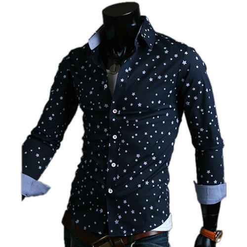 Star Printed Party Wear Full Sleeves Mens Shirts