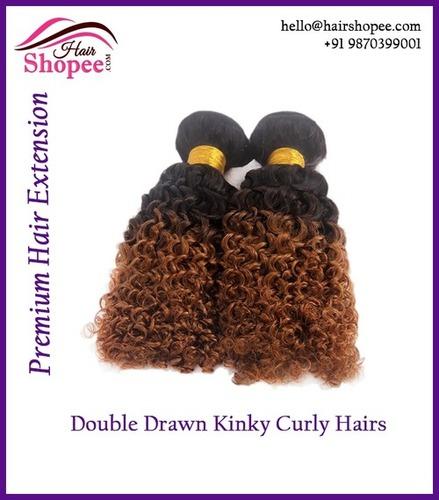Double Drawn Kinky Curl Hairs - Brown