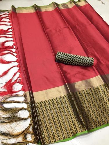 Golden Border Design Cotton Silk Saree