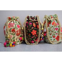 Flower Embroidery Attractive Potli