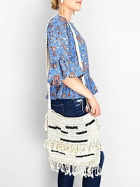 Handmade Crochet Cotton Bag With Fringes