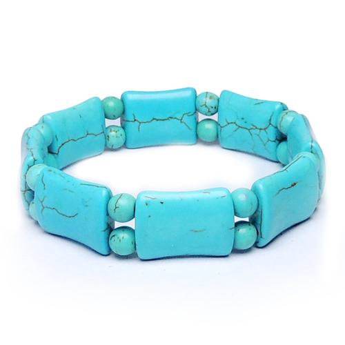 Natural Stone Blue Howlite Art 3 Bracelet