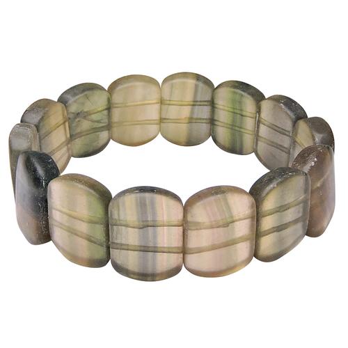 Natural Stone Flourite Broad Cabochon Bracelet For Calmness