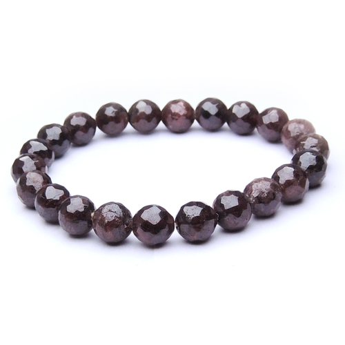 Natural Stone Garnet Faceted Bead Bracelet