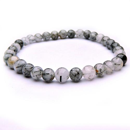 Natural Stone Healing Tourmalinated Quartz Bracelet For Serenity