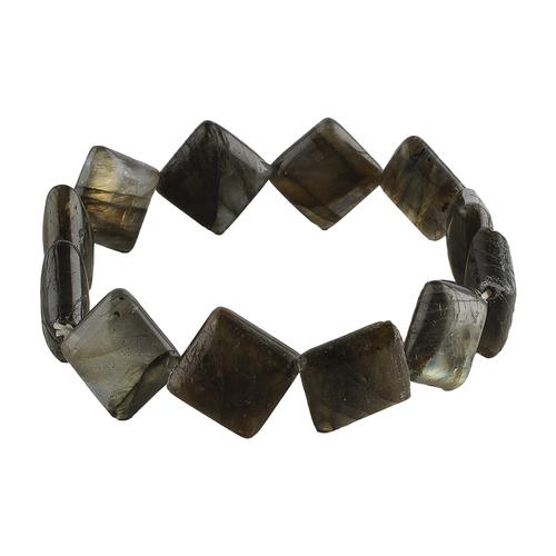 Natural Stone Labradorite Square Beads Bracelet For Aura Enhancing