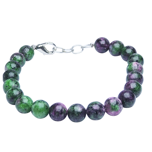 Natural Stone Ruby Zoisite Beads Bracelet With Hook