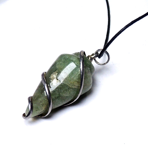 Natural Stone Green Aventurine Spiral Wrapped Energy Pendant