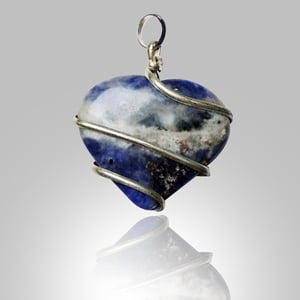 Natural Stone Sodalite Heart Wrapped Pendant