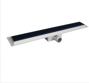 Model H Black Glass Linear Shower Drain